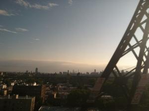 Manhattan from a train window